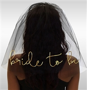 Bride to Be Gold Foil Veil: Black
