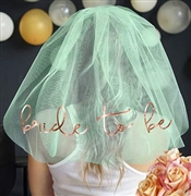 Bride to Be Rose Gold Foil Veil: Mint