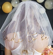 Bride to Be Gold Foil Veil: White