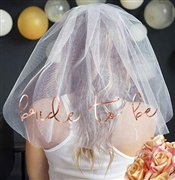 Bride to Be Rose Gold Foil Veil: White