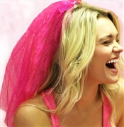Sparkle Veil: Hot Pink | Bachelorette Party Veil | Bridal Veils | RhinestoneSash.com